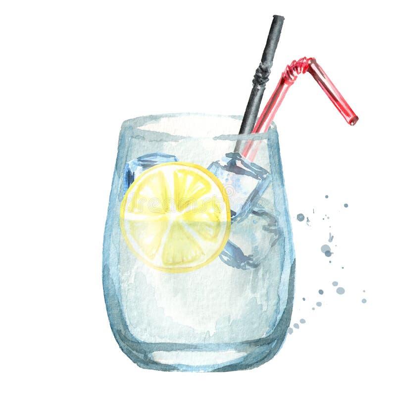 Exponeringsglas av coctail med citron- och iskuber Dragen illustration för vattenfärg hand vektor illustrationer