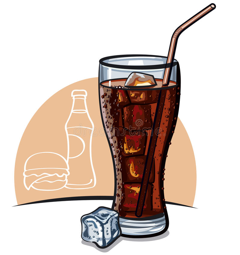 Exponeringsglas av cola med is vektor illustrationer