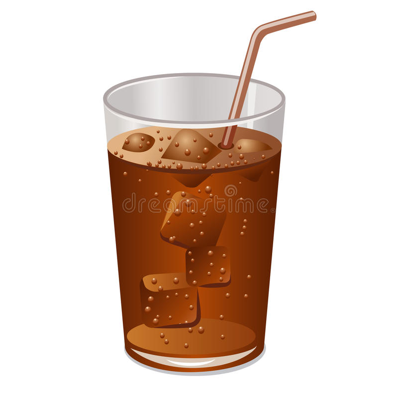 Exponeringsglas av cola med is stock illustrationer