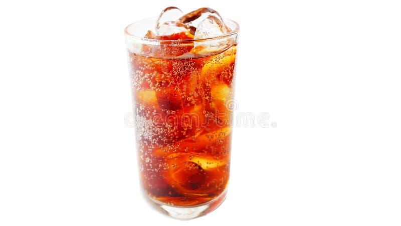 Exponeringsglas av cola på en vit bakgrund arkivbilder