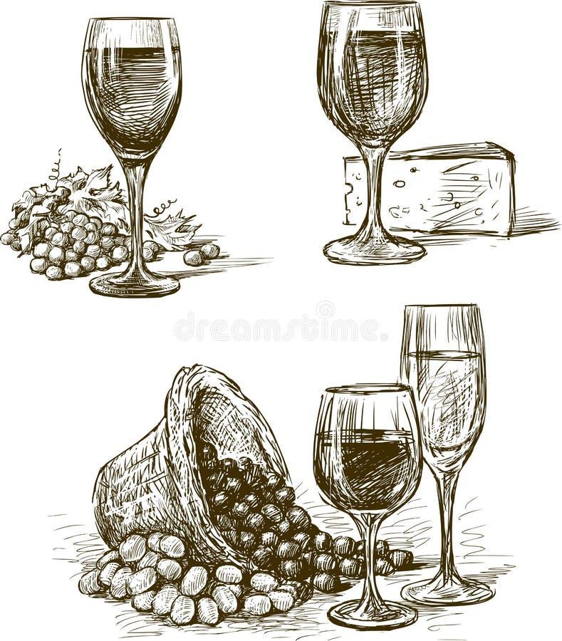 Exponeringsglas av druvavin royaltyfri illustrationer