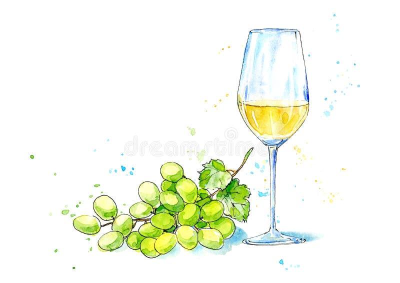 Exponeringsglas av ett vitt vin och druvor royaltyfri illustrationer