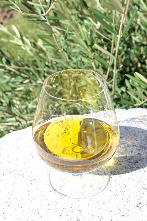 Exponeringsglas av extra jungfrulig olivolja fotografering för bildbyråer