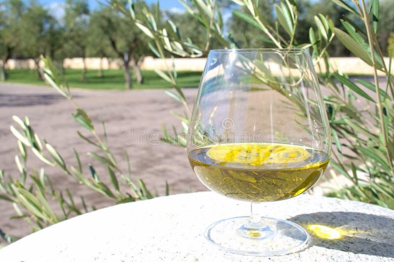 Exponeringsglas av extra jungfrulig olivolja royaltyfria bilder