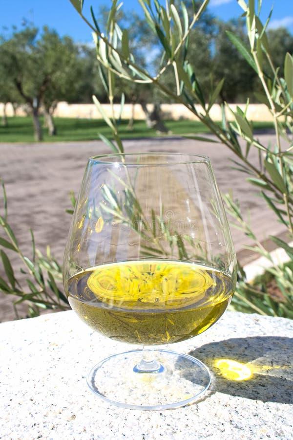 Exponeringsglas av extra jungfrulig olivolja royaltyfri fotografi