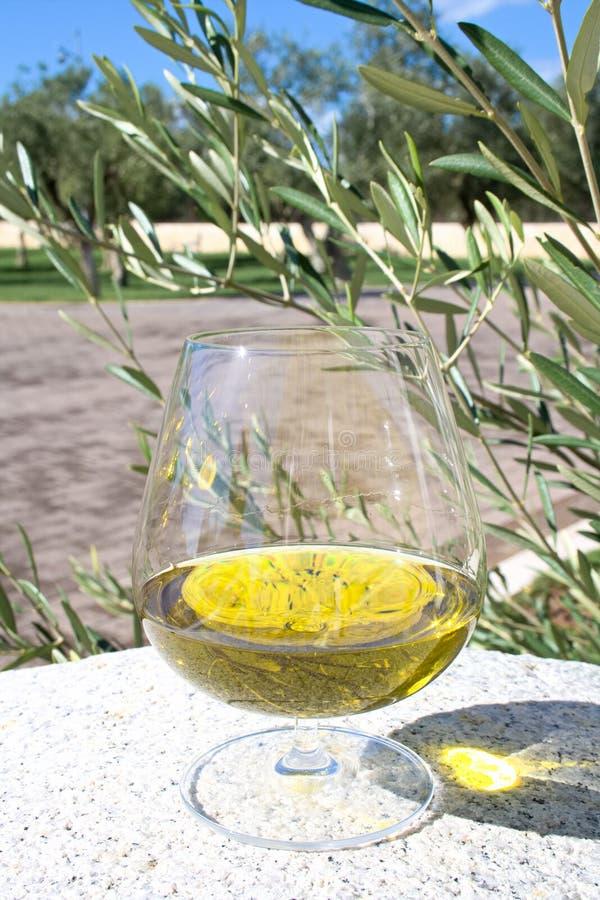 Exponeringsglas av extra jungfrulig olivolja arkivbild