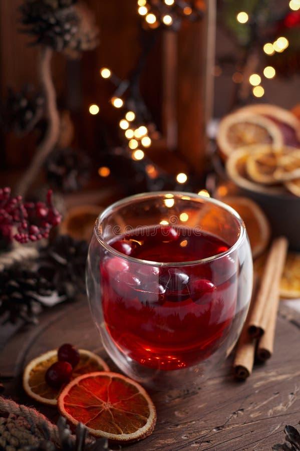 Exponeringsglas av funderat vin med tranbäret Drink för jul eller för nytt år royaltyfria bilder