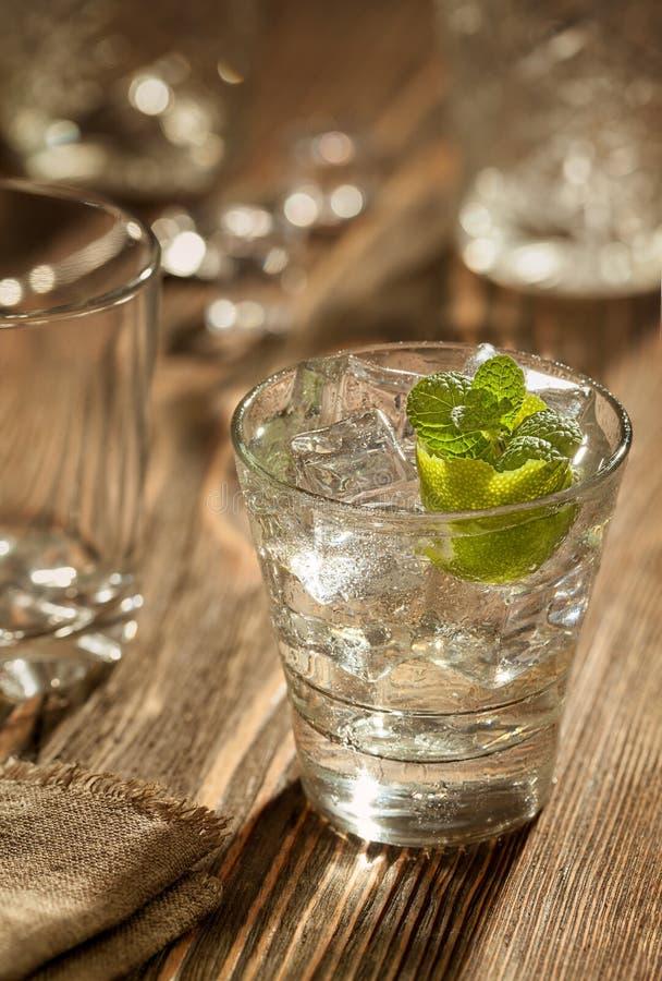 Exponeringsglas av ginuppiggningsmedel med limefrukt och is över en trätabell fotografering för bildbyråer