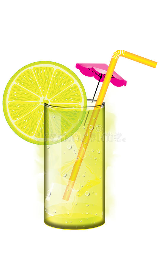 Exponeringsglas av grön lemonade med is och röret stock illustrationer