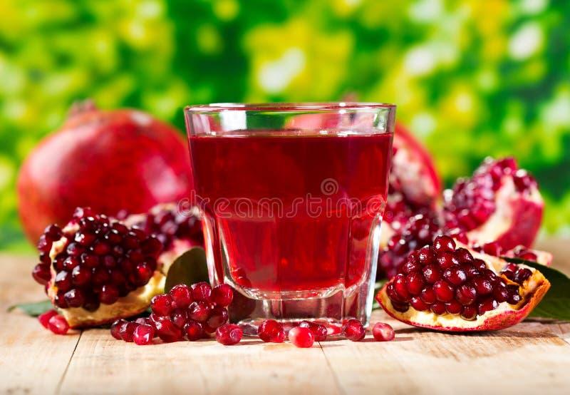 Exponeringsglas av granatäpplefruktsaft med nya frukter arkivbild