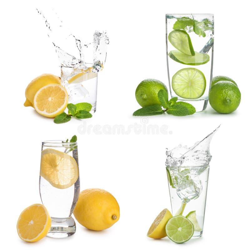 Exponeringsglas av ingett vatten med citrusfrukter på vit bakgrund royaltyfri fotografi