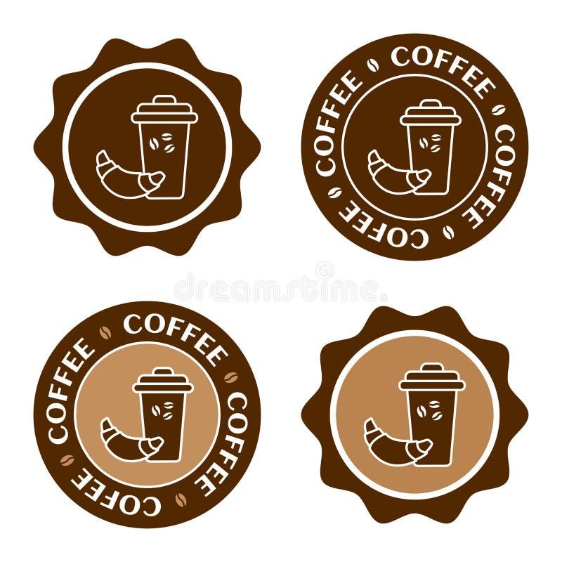 Exponeringsglas av kaffe med en giffel Kaffeetikettupps?ttning, kaf?logo, vektor stock illustrationer