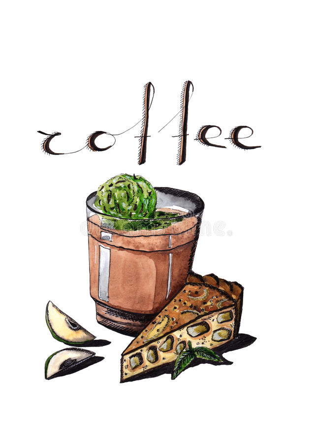 Exponeringsglas av kallt kaffe och glass med äppelpajen arkivbilder