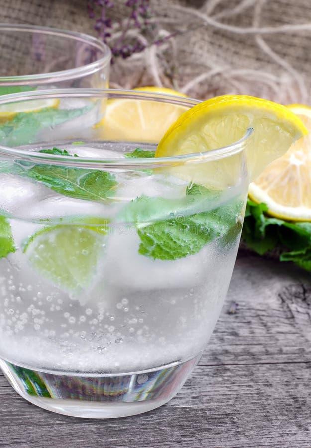 Exponeringsglas av kallt kolsyrat vatten med citronen och mintkaramellen royaltyfri fotografi