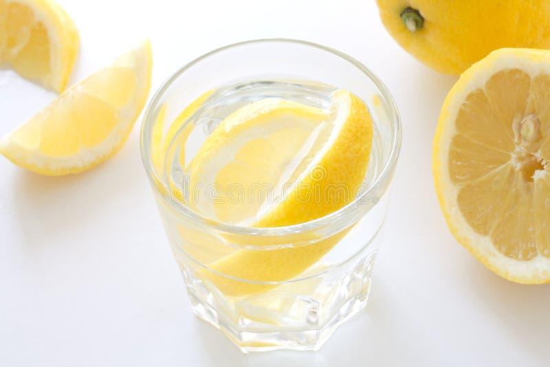 Exponeringsglas av kallt vatten med citronen royaltyfri fotografi
