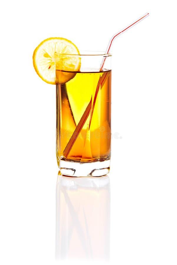 Exponeringsglas av lemonad eller citronjuice som isoleras på vit royaltyfri fotografi