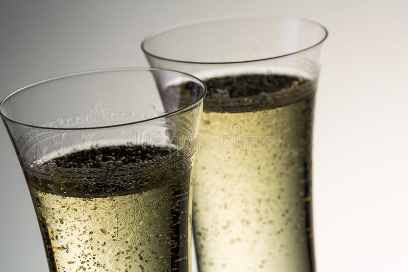 Exponeringsglas av lyxig champagne royaltyfria foton
