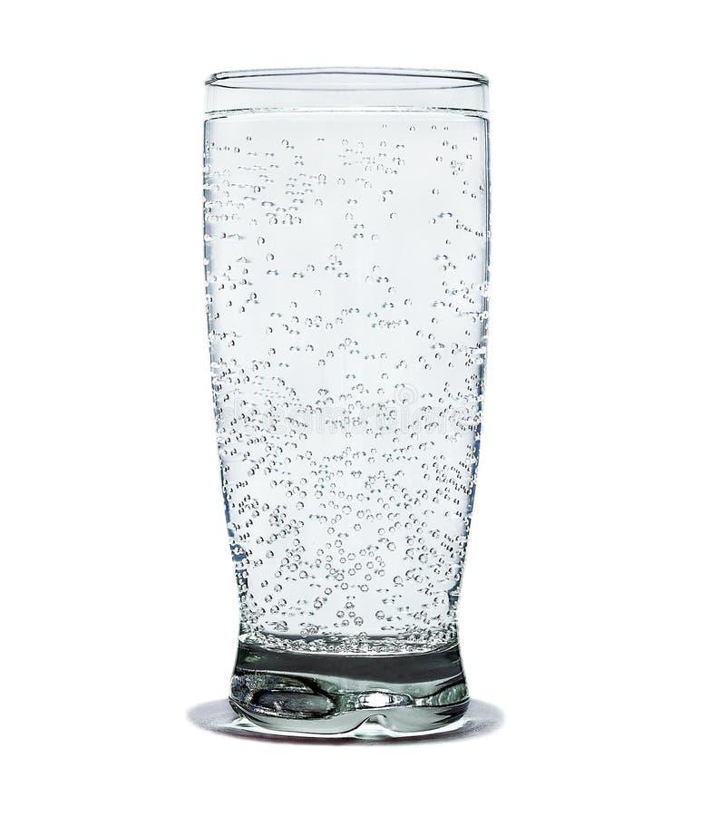 Exponeringsglas av mineralvatten som isoleras på vit bakgrund arkivfoto