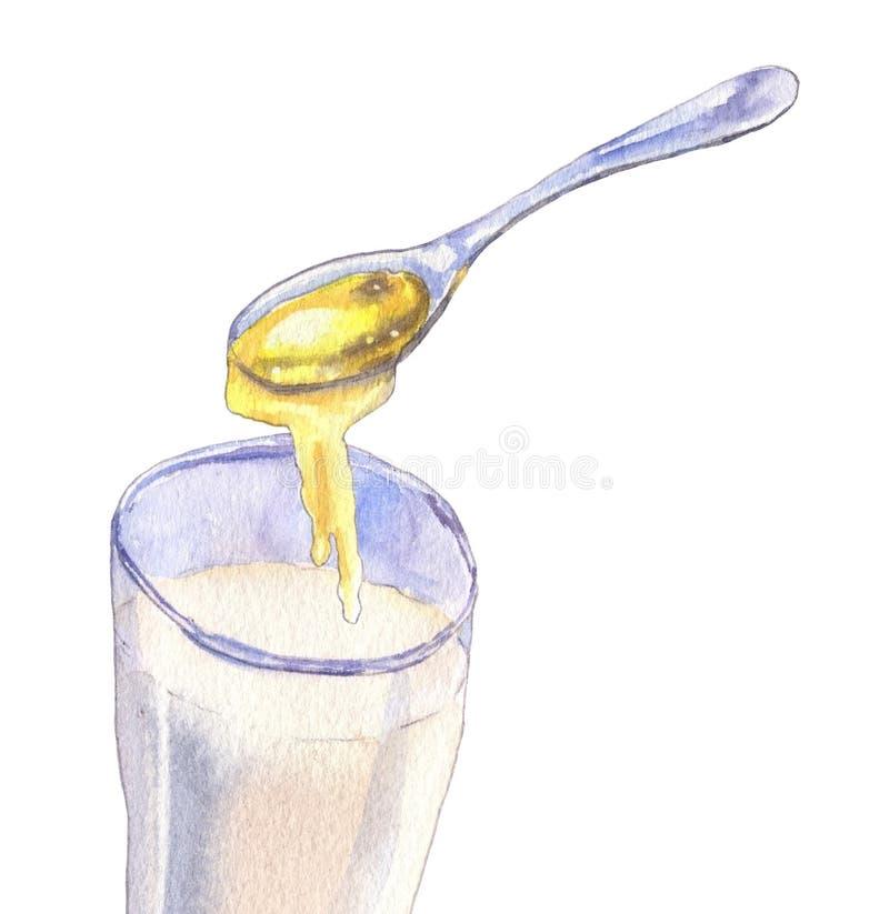 Exponeringsglas av mjölkar och honung arkivbild