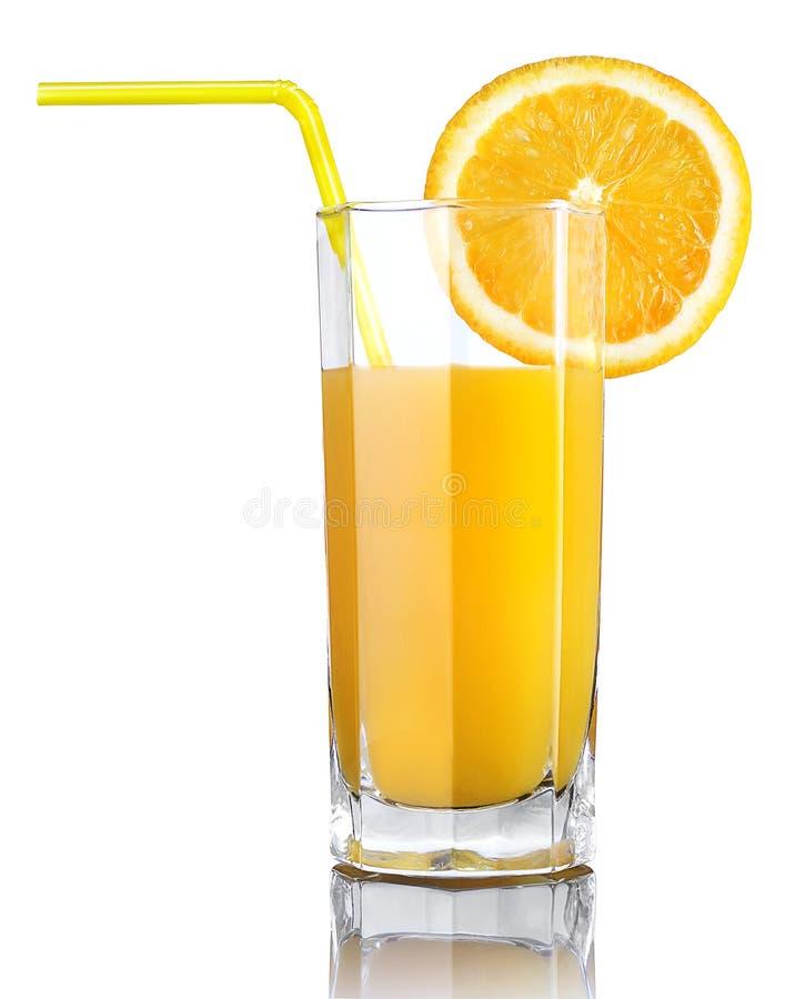 Exponeringsglas av orange fruktsaft arkivbilder