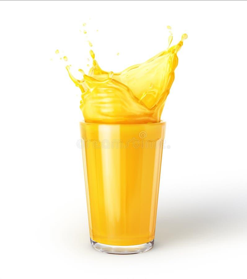 Exponeringsglas av orange fruktsaft med färgstänk som isoleras på vit bakgrund royaltyfri fotografi