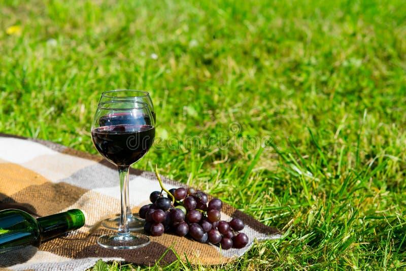 Exponeringsglas av rött vin i den öppna luften, bredvid en filial av druvor fotografering för bildbyråer