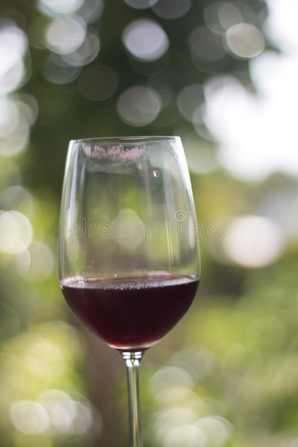 Exponeringsglas av rött vin med fläck för kantuttorkningfläck och gräsplanbokeh för arkivbilder