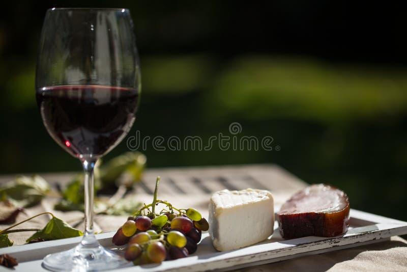 Exponeringsglas av rött vin, med karaffen, ost och druvor royaltyfri bild