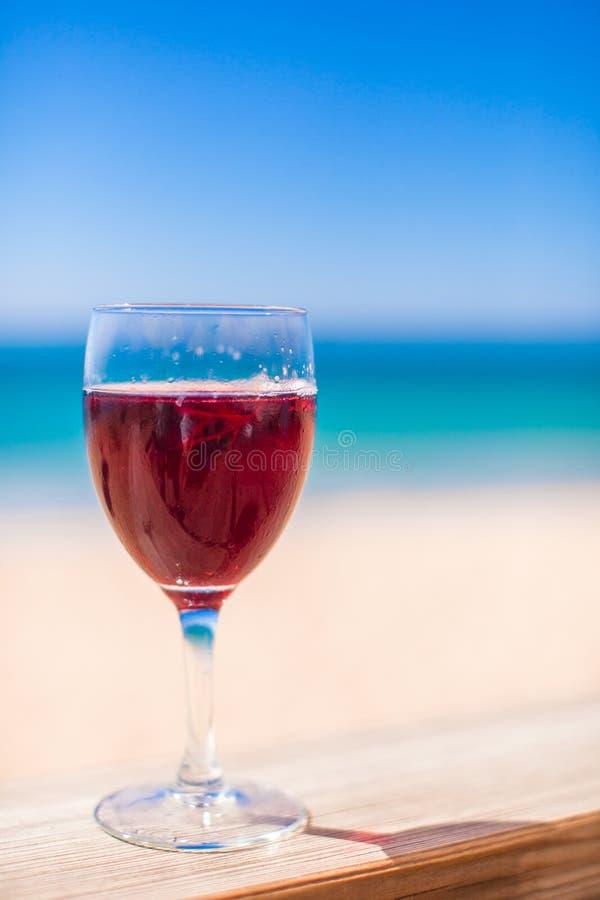 Exponeringsglas av rött vin mot turkoshavet royaltyfri fotografi