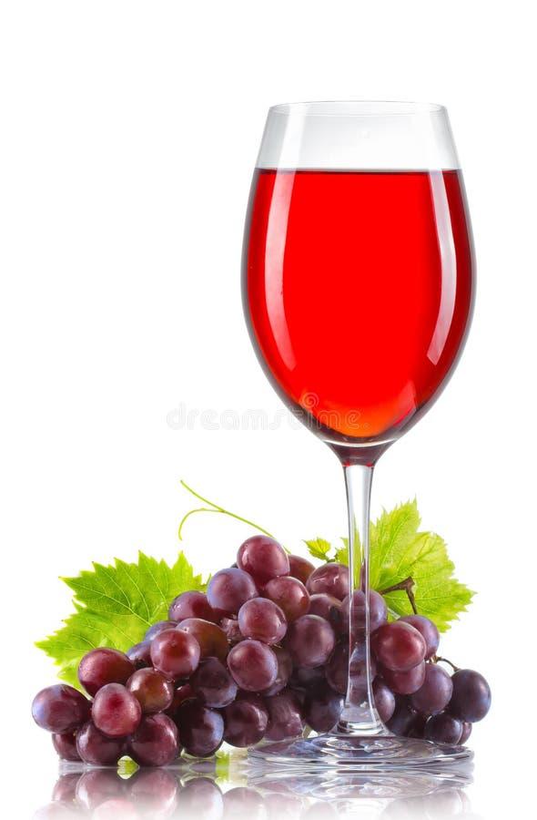 Exponeringsglas av rött vin och en grupp av isolerade mogna druvor arkivbild