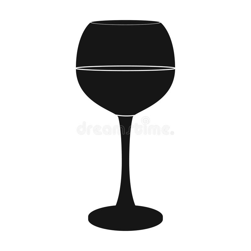 Exponeringsglas av rött vinsymbolen i svart stil som isoleras på vit bakgrund Symbol för vinproduktion stock illustrationer