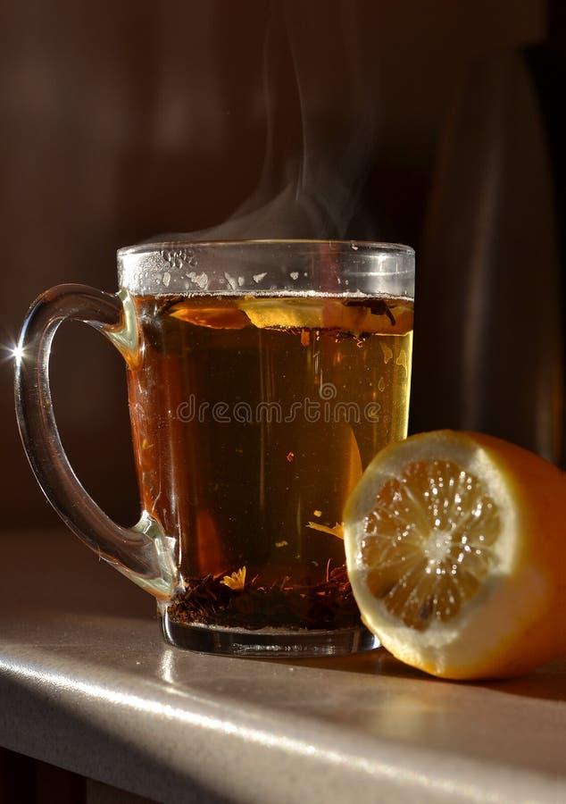 Exponeringsglas av te och citronen arkivbilder