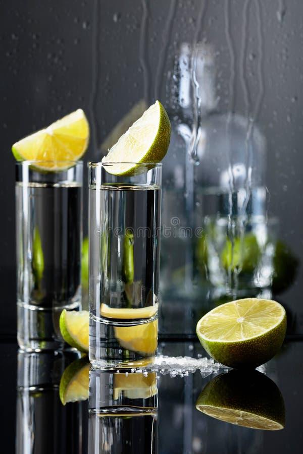 Exponeringsglas av tequila med limefrukt och att salta på den svarta reflekterande bakgrunden royaltyfria foton