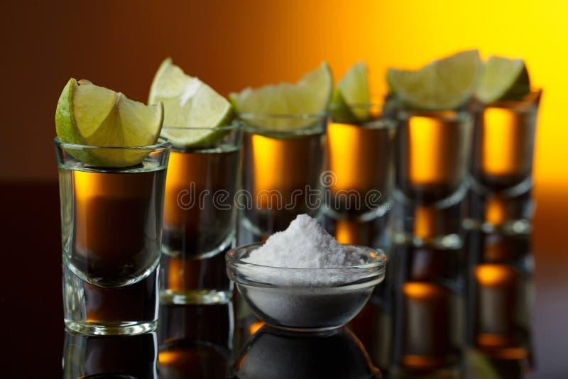 exponeringsglas av tequila- och limefruktskivor royaltyfria bilder