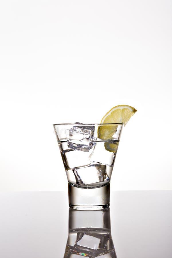 Exponeringsglas av vatten med citron- och iskuber p? bakgrund arkivbilder