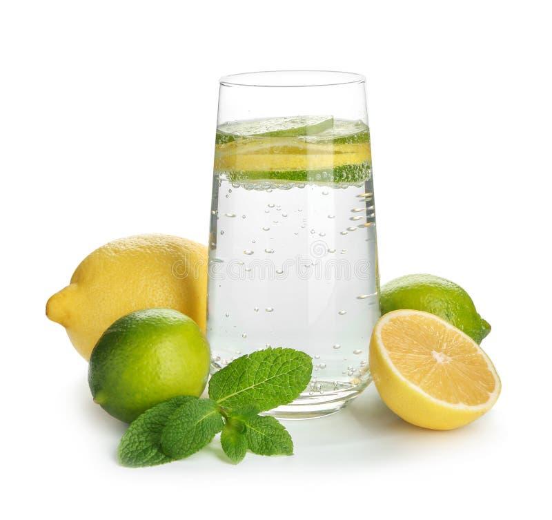 Exponeringsglas av vatten med citronen, limefrukt och mintkaramellen på vit bakgrund arkivbild