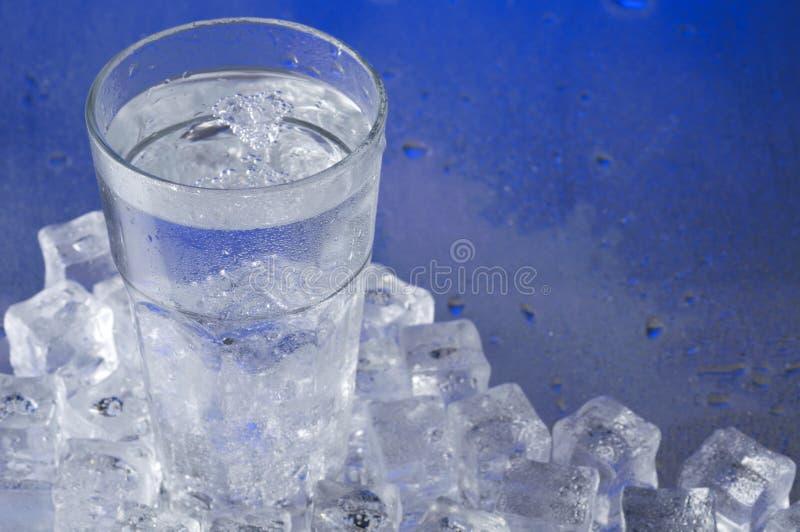 Exponeringsglas av vatten med iskuber royaltyfria bilder