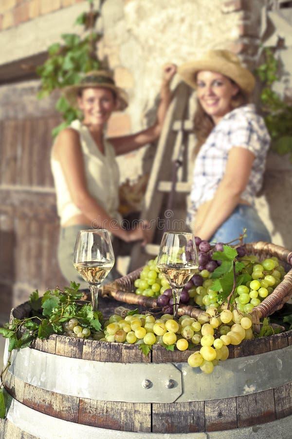 Exponeringsglas av vin och kvinna två i bakgrunden fotografering för bildbyråer