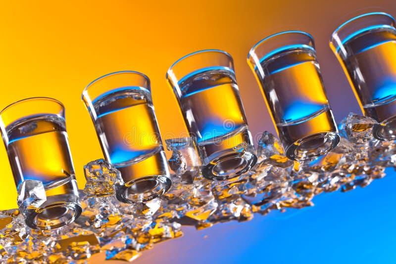 Exponeringsglas av vodka royaltyfri fotografi