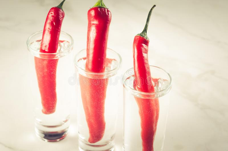 exponeringsglas av vodka och röd peppar/exponeringsglas av vodka och röd peppar på en vit bakgrund arkivfoto
