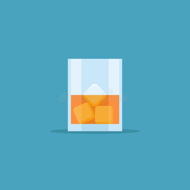 Exponeringsglas av whisky med symbolen för islägenhetstil också vektor för coreldrawillustration vektor illustrationer
