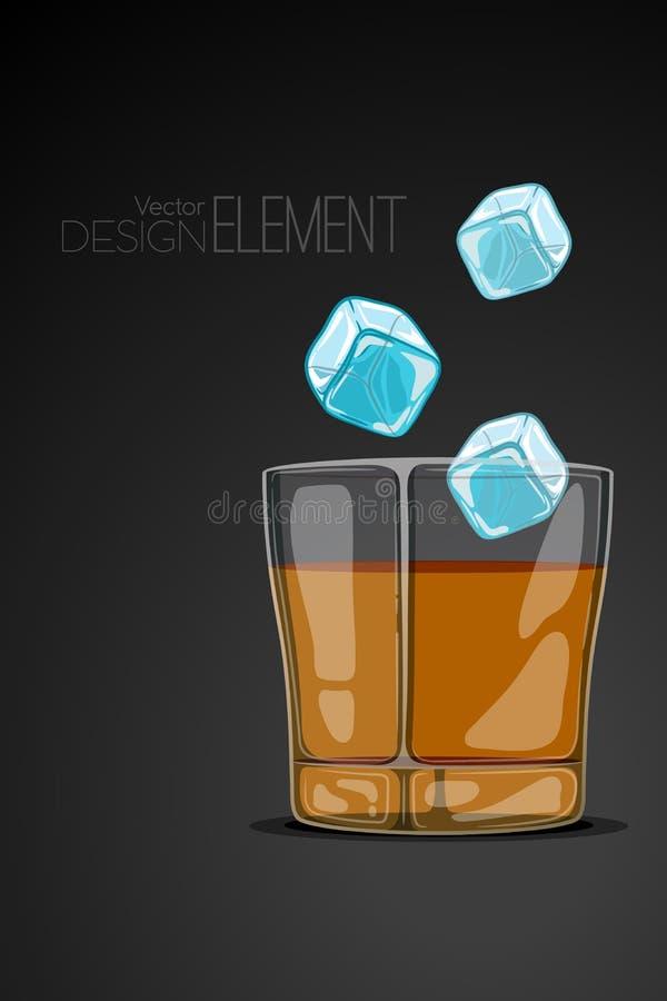Exponeringsglas av whisky på abstrakt begreppsvartbakgrund med flygiskuber Strikt artsy stil Kulör tecknad filmvektorillustration stock illustrationer