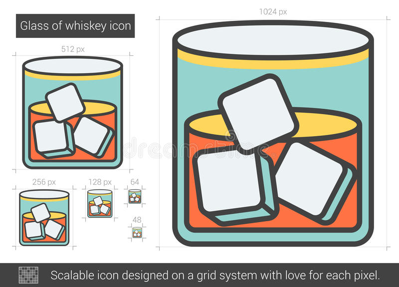 Exponeringsglas av whiskylinjen symbol stock illustrationer