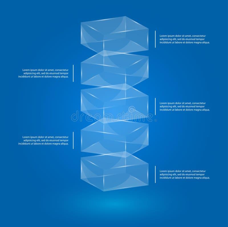 Exponeringsglas boxas infographic vektor illustrationer