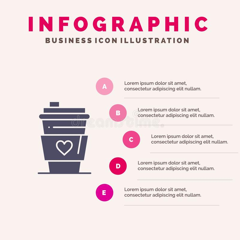 Exponeringsglas drink, förälskelse, för symbolsInfographics 5 för bröllop fast bakgrund för presentation moment stock illustrationer