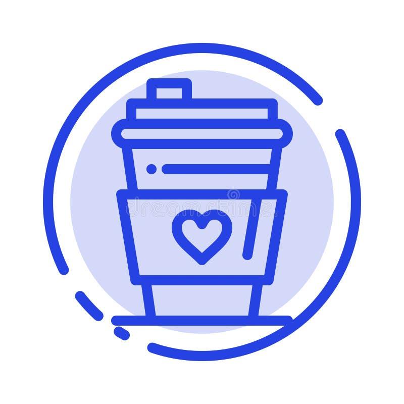 Exponeringsglas drink, förälskelse som gifta sig den blåa prickiga linjen linje symbol stock illustrationer