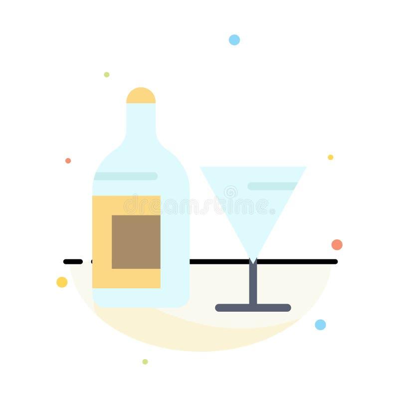Exponeringsglas drink, flaska, för färgsymbol för vin abstrakt plan mall stock illustrationer
