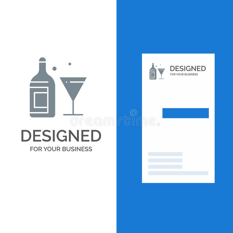 Exponeringsglas, drink, flaska, vin Grey Logo Design och mall för affärskort royaltyfri illustrationer