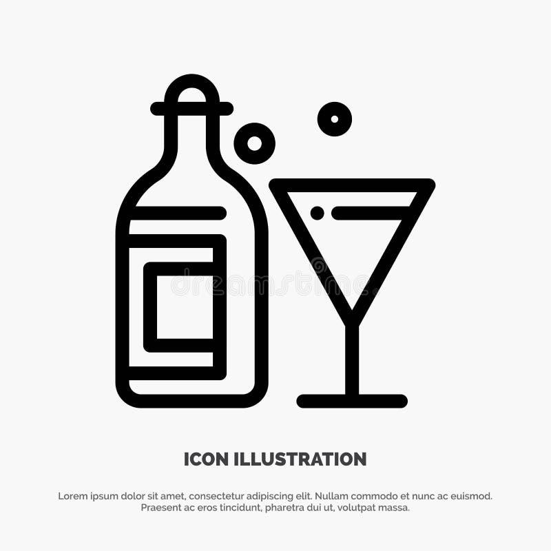 Exponeringsglas drink, flaska, vinlinje symbolsvektor vektor illustrationer
