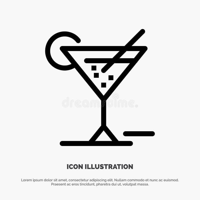Exponeringsglas exponeringsglas, drink, hotellvektorlinje symbol royaltyfri illustrationer